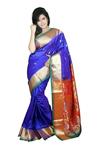 Aruna Fashions Self Design Paithani Art Silk Saree(InkBlue color saree with Green...