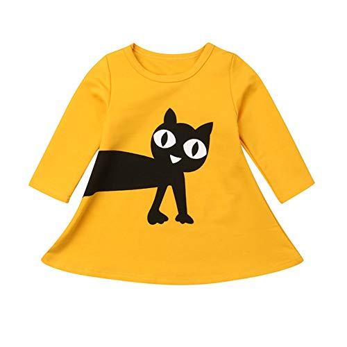 Gyrate Traum Sommer Casual Baby Mädchen Langarm Cartoon Katze Muster Patchwork Kleid Kinder Kleinkind Prinzessin Kleid für 2-5 Jahre
