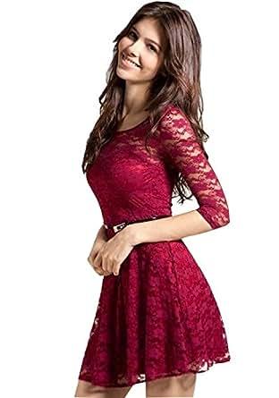 Aika Fashion Women's Dress (KUKE1572-S_Maroon_Small)