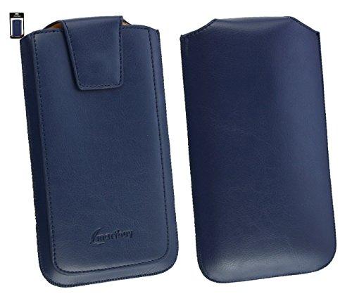 Emartbuy® Sleek Range Dark Blau Luxury PU Leder Tasche Hülle Schutzhülle Case Cover ( Size 5XL ) Mit Ausziehhilfe geeignet für Allview P6 QMax Smartphone
