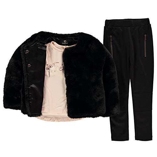 Firetrap Mädchen 3-teilig Faux Jacke Hose T Shirt Set Baby Schwarz 0/6 Monate - Seide Twill Shirt