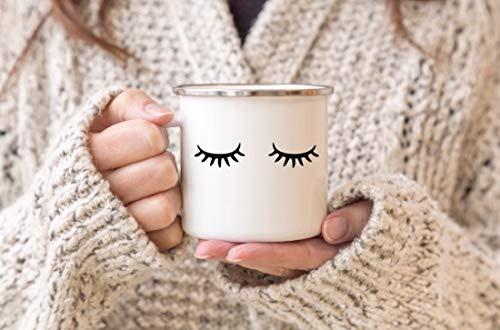 Taza de café esmaltada con pestañas de 325 ml, regalo para dama de honor, taza femenina con ojos dormilones