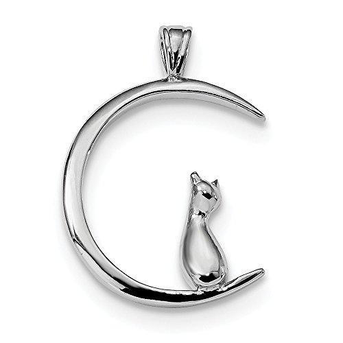 Argento sterling con zirconi cz ciondolo a forma di gatto sulla luna (17.2mm x 24.7mm)