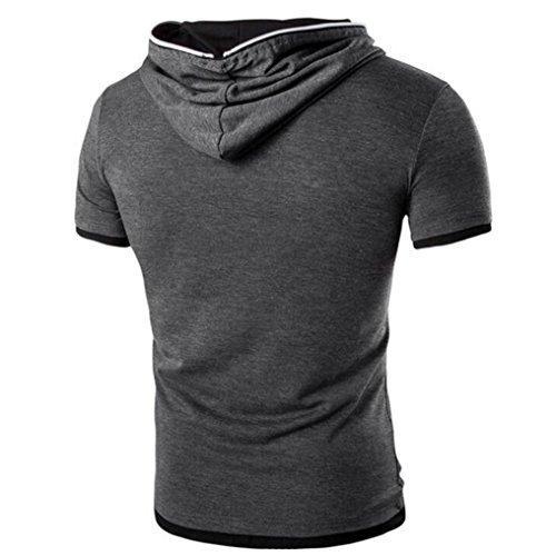 Rcool Männer Sommer Sport Zepper Bluse Kapuzen Kurzarm T-Shirt Tops Dunkelgrau