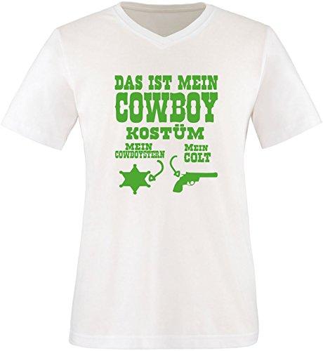 Luckja Das ist mein Cowboy Kostüm Herren V-Neck T-Shirt Weiß/Grün
