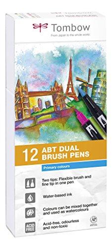 Tombow ABT-12P-1 Dual Brush Pen Lot de 12 Feutres pinceau à deux pointes Couleurs Primaires