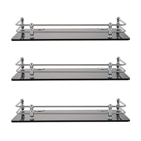 Horseway 12X5 Inch Acrylic And Stainless Steel Wall Shelves - Set Of 3 (Combo)