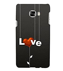 FUSON Love Hanging White Text 3D Hard Polycarbonate Designer Back Case Cover for Samsung Galaxy C5 SM-C5000