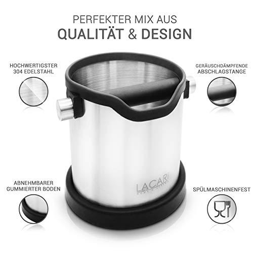 Lacari ® Premium Abschlagbehälter - Perfekt Für Espresso Kaffeemaschine - Hochwertiger Abklopfbehälter Aus Edelstahl - Kaffe Zubehör Für Siebträger - Abschlagbox Für Saubere Entsorgung Von Kaffeesatz - 4