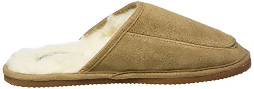SNUGRUGS Suede with Wool Lining and Rubber Sole, Chaussons Mixte Adulte, 37 EU Marron (Camel)
