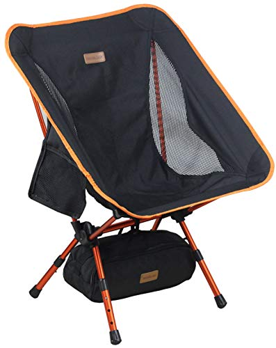 Trekology YIZI GO Portable Camping Chair with Adjustable Height - Compact Ultralight Folding Backpacking Chairs in a Carry Bag, Heavy Duty 300 lb Capacity, for Hiker, Camp, Beach, Fishing, Outdoor (Black)