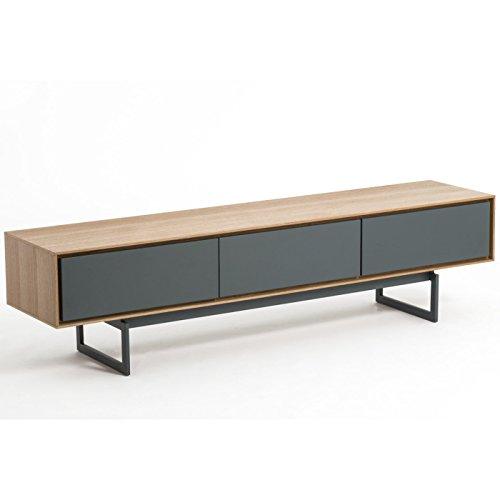 Meuble TV design VALEO chêne et gris 180 cm tiroirs système push-pull