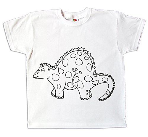 Kinder T-Shirt Dinosaurier zum bemalen mit Vordruck Kindergeburtstag Kindergarten … (116)