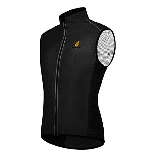 Baoblaze Gilet Cappotto Sportivo Da Running Antivento Riflettente Da Ciclismo Attrezzo - Nero, XL