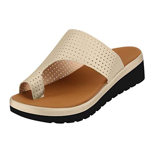 r Sandalen Bohemian Flach Sandaletten Sommer Strand Schuhe,Frauen Thick Bottomed Sandal Schuhe Keilabsatz Sandalen Clip Toe Sommer Strand Schuhe ()