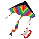 Rainbow Kite, Finer Shop Outdoor Sky Dancer Toy Kite Triangle Flying Colorful Kite for Kids and Adults - Outdoor Games Activities Toys - 50m/164feet Kite Line - FINER SHOP - amazon.co.uk