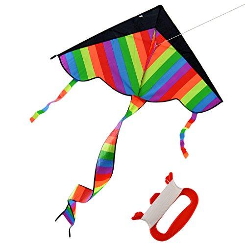 Forweilai ultimi 200 x 11 x 210 cm pieghevole outdoor sky kite flying kite con long tail per bambini adulti (colorato)