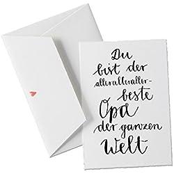 Du bist der allerallerallerbeste OPA der Welt, als Geburtstagskarte oder allgemeine Grußkarte als Dankeschön an den besten Opa der Welt, klassisch mit Herz - Umschlag