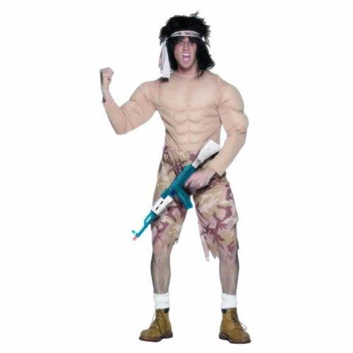 ostüm Kämpfer Bodybuilder Kostüm Gr. 48/50 (M), 52/54 (L), Größe:M (Rambo Kostüm)
