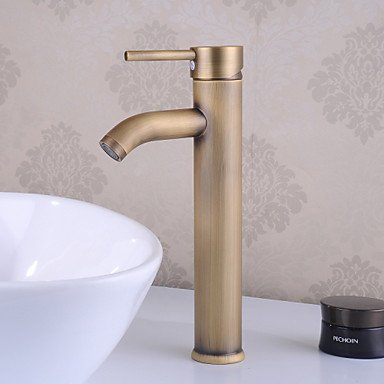 HONGLONG Traditional Centerset Ceramic Valve Single Handle One Hole with Antique Brass Bathroom Sink