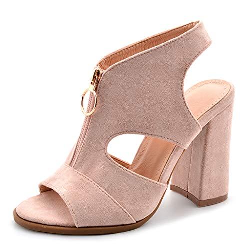 Yujingc Sandalen für Damen Damen Slingback Peep Toe römische Schuhe Dorsay Front Zipper Square Block Ferse Schuhe Formale Abend,Beige,37 Front-peep-toe