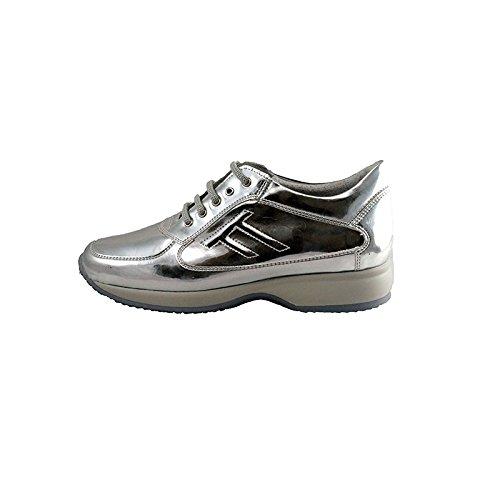 Soldini 17575-B-D87 - sneakers donna, modello hogan con effetto specchio (argento 38)