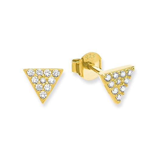 s.Oliver Damen-Ohrstecker Dreiecke Geometrie 925 Sterling Silber gelbvergoldet Zirkonia weiß