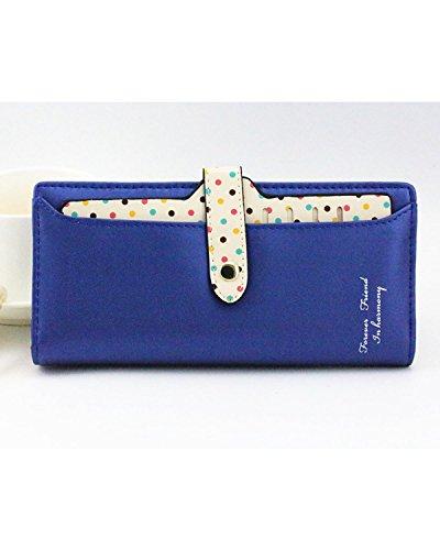 Minetom Donne PU Leather Portafoglio Lungo Zip Pois Porta Monete TitolareDellaCartaPochettePortafoglio Borsetta ( Blu ) Blu
