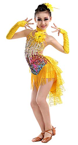 Happy Cherry Mädchen Kleid Latin Tanzkleid Pailletten Gesellschaftstanz Kleider Set Kinder Dancewear-Gelb-120cm -