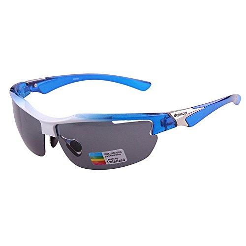 UV400 Schutz Sport Sonnenbrille Männer Frauen Für Outdoor Radfahren Baseball Laufen Coole Polarisierte Sport Sonnenbrille Angeln Golf Klettern (Farbe : Grau)