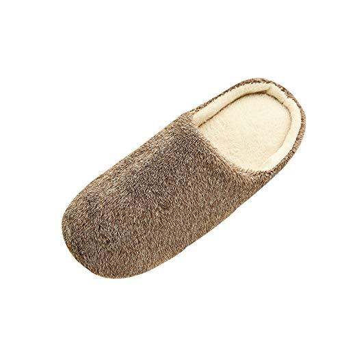 Fenverk Frau MäNner Warm Zuhause PlüSch Weich Hausschuhe Drinnen Anti-Rutsch Winter FußBoden Schlafzimmer Schuhe Damen Erinnerung Schaum Haus Atmungsaktiv Innen Baumwolle Sandalen(Kaffee,EU:42.5-43)