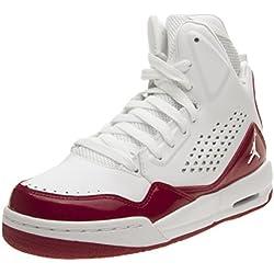 Nike Jordan SC-3 BG - Zapatillas de Baloncesto de Piel Para Niño Gris Blanco/Rojo Gris Size: 38