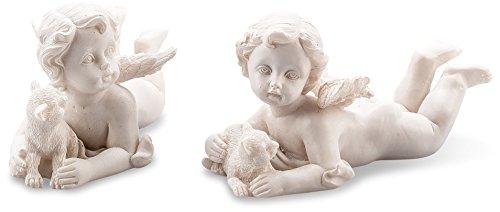 Pajoma 10608, Liegende Engelfiguren mit Katze im 2-er Set, Kunstharz, Höhe 5 cm