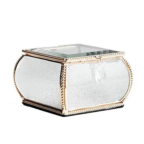 ahliwei Glass Crystal Phnom Penh Schmuckbox Prinzessin Europäische Schmuckbox Handdekorative Box Schmuck Ohrringe Ring Box B 11 * 11 * 7cm