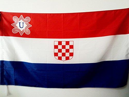 AZ FLAG Flagge UNABHÄNGIGER Staat Kroatien 1941-1945 90x60cm - USK Fahne 60 x 90 cm Scheide für Mast - flaggen Top…