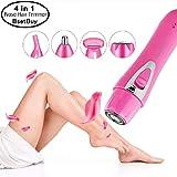 USB wiederaufladbare 4 in 1 Haarentfernung,elektrische Epilierer Kit, schmerzlos Körper Haar Rasierer für Nase Augenbraue Bikini Trimmer Gesichts Haar Entfernung Kit (rosa)