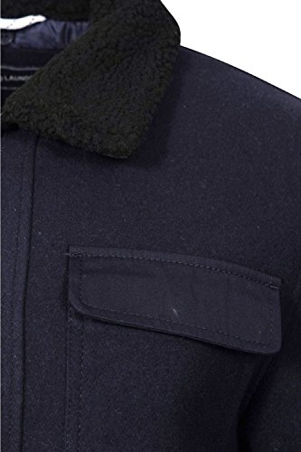 Herren Tokyo Laundry Babaryan Shearling Kragen Jacke Neu Designer Wollmischung Mantel Navy