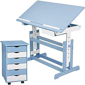 TecTake 800062 Kinderschreibtisch mit Rollcontainer Schreibtisch neig- & höhenverstellbar -Diverse Farben- (Blau | Nr…