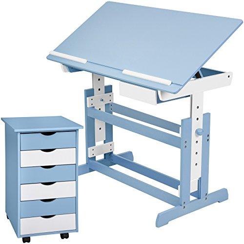 Tectake scrivania per bambini regolabile in altezza + comò cassettiera a rotelle - disponibile in diversi colori - (blu)