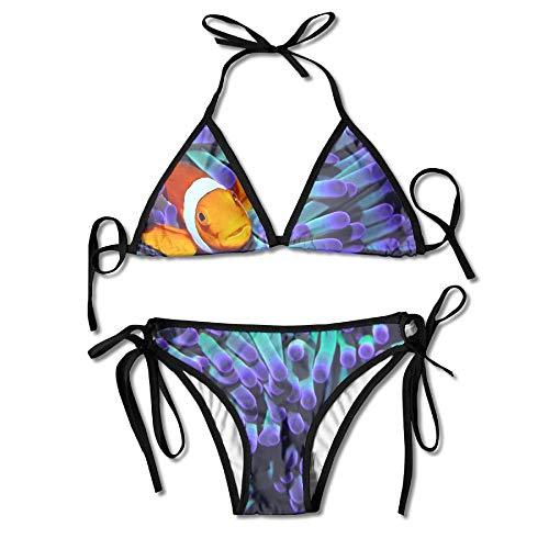 HIWSSH Bikini Swimwear Anemone Fish Printing Sexy Two-Piece Bikini Set Beach Bathing Suit Anemone Cup