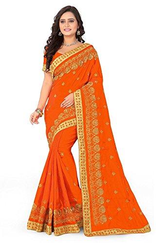 Izonme women's Paper silk designer saree with blouse (orange)