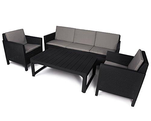 Preisvergleich Produktbild Ondis24 Chicago Gartenmöbel Lounge Set 5 Sitze mit Lyon Table Loungetisch