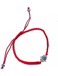 Red Hamsa Bracelet With Rotating Evil Eye Pendant