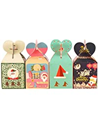 TOYANDONA 24 Piezas Cajas Papel Caja de Almacenamiento de Dulces de Regalo de Frutas Portátil Navidad Bolsa de Embalaje de Regalo de Dibujos Animados Lindo para
