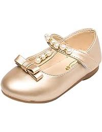 Scarpe per Ragazze Estivi Sandali Principessa Ballerine Bowknot Perla Mary  Jane Donna Tacco Basso Eleganti Neonata 70a572be2a8