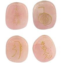 4pcs Canicas Grabadas Cuarzo Piedras de Cristal Energía Reiki - Rosa