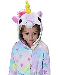 Aibrou Unisex Clásico Albornoz niña Ducha con Capucha Bebe Kimono Bata,Suave Cómodo y Agradable,1-6 Años