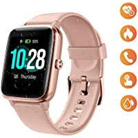 Smart Watch for Women, Waterproof Smartwatch Colorful Full Touch Screen Fitness Tracker with Heart Rate, Sleep Tracking, Steps Counter, Call SMS SNS Reminder Activity Tracker for Android iOS (pink)