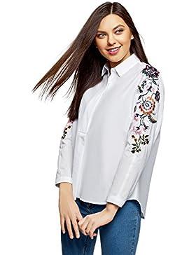 oodji Ultra Mujer Camisa de Algodón con Bordado