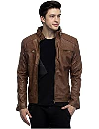 ATC PU Leather Full Sleeve Jacket For Men's 40 (Brown)